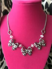 Betsey Johnson Bonjour Butterfly Crystal AB Bow Ribbon Clear Silver Necklace