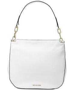NEW wTags Michael Kors Large Fulton Leather Hobo Bag Optic White $298 RETAIL.
