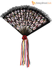 Amscan International Adults Day of The Dead Fan Fashion 1 Black