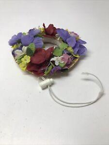 Floral Straw Dog Hat Size S Dog Costume Halloween Handmade KG Flowers Easter