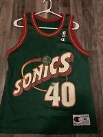Vintage Shawn Kemp Seattle Supersonics Champion Jersey Size 40 Medium Nba 🔥🔥