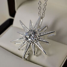 """925 Stamped Sterling Silver Plt Clear CZ Star Pendant 18"""" Chain Necklace 215"""