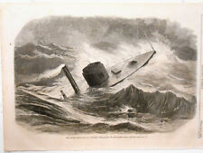 Harper's Weekly Page Civil War Iron Clad Monitor Weehawken In Storm  Feb 1863