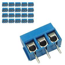20 pcs 5mm Pitch 300V 16A 3P Poles PCB Screw Terminal Block Connector Blue
