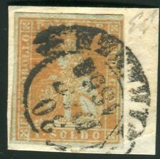 1851/2 Toscana 1 soldo bistro arancio su grigio usato splendido cert.