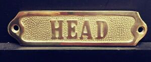 "SOLID BRASS ""Head"" Door Sign ~ Nautical Maritime ~ Boat Ship Wall Decor"