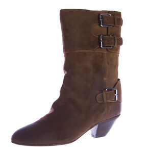 REBECCA MINKOFF Women's Ranger Praline Mid-Calf Suede Boots 92449 Sz 7 NEW