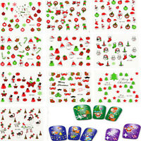 12 Sheet Lots Colorful Christmas Nail Art Stickers Decal Tips DIY 3D Decoration