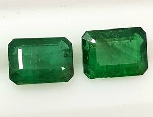 5.00 Ct Natural Zambia Emerald Cut Pair Rich Green Good Luster Gemstone