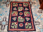 ANTIQUE AMERICAN  COLORFUL HAND KNOTTED RAG RUG CIRCA 1920
