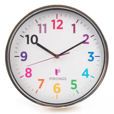 Pirongs Wall Clock Clear and Colourful Display Analogue Battery Powered