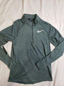 Nike Mens Half 1/2 Zip Long Sleeve Running Shirt Top Green Size Small S