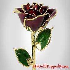 24k Gold Dipped Burgundy Real Rose (Free Anniversary Gift Box)
