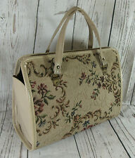 Vintage 50s Floral Tapestry Carpet Handbag Tote Bag