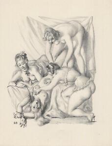 Erotische Grafik Weibliche Erotik Vintage Akt Orig. LITHOGRAPHIE 1956 Ballivet