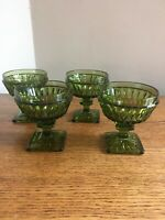 "SET OF 4 Vintage Indiana Glass MT VERNON GREEN 3-3/4"" Champagne Sherbet"