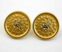 Vintage Designer Carolee Button Stud Earrings Matte Gold Tone Metal Goldtone