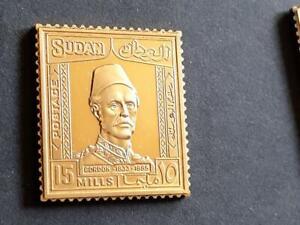 SUDAN-1935 GEN GORDON-15m VALUE-925 STERLING SILVER+GOLD PLATED STAMP INGOT-15g