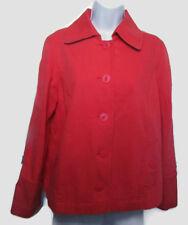 LL Bean Women's Jacket Red Blue Strech Cotton Nautical Anchor Button Size M EUC