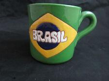 "1999 red clay coffee mug BRASIL Brazil flag signed ""CREO"""