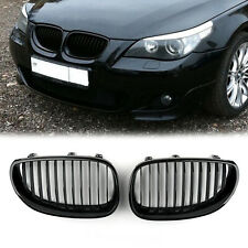 Pair Gloss Black Kidney Tuning Front Grilles For BMW E60 E61 5 Series 2003-2010