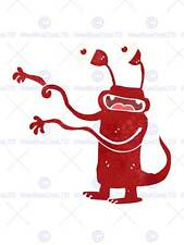PAINTING DRAWING BIZARRE RED CARTOON MONSTER KIDS ART PRINT POSTER MP3707B