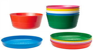Kalas Kids Plastic Plates & Bowls  Assorted Colors, 6 Of Each Picnic Outdoor BBQ