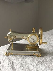 MINIATURE CLOCK - SEWING MACHINE  - SILVER/GOLD COLOUR - USED