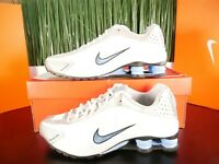 Nike Shox R4 Mens Running Shoes White Blue 104265-133 Size 8-12