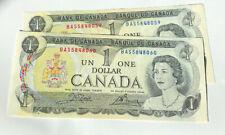Canada Bank Note 1973 One Dollar 2 Consecutive Note BAS5848060 - 059