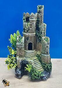 Castle Ruin on Rocks Cave Tall Aquarium Ornament Fish Tank Bowl Decoration