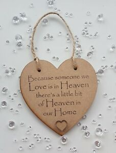 Because someone we love is in heaven heart plaque home memorial funeral gift