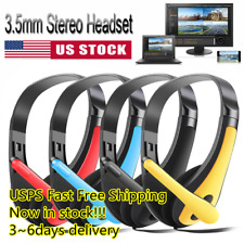 3.5mm Stereo Gaming Headset Head Headphone Bass with Microphones For Computer PC