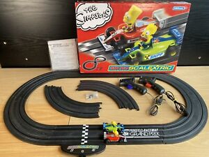 The Simpsons Micro Scalextric Car Set - Bart & Homer Racing - Working!