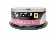 25 HP 8X Blank DVD+R DL Dual Double Layer 8.5GB White Inkjet Hub Printable Disc