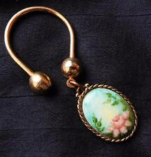 Pretty Horseshoe Key Ring (Unscrews to Open) with Floral Charm