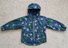 Size 4 L.L. BEAN Windbreaker Hood Rain Jacket Coat Octopus Blue Reflective Beach