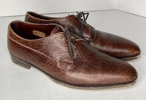 George Cleverley London BESPOKE Brown Pebble Calf Oxford Dress Shoes Mens US 8