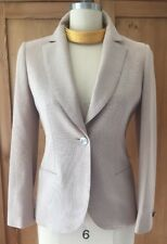 Authentic Vintage Chanel Cotton Weave Khaki Single Button Blazer Size 36