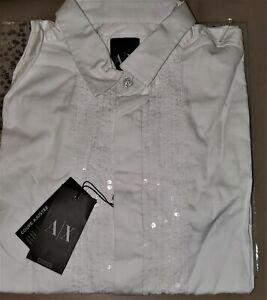 NWT Armani Exchange Sequined Stripe White Tuxedo Dress Button Down Shirt Cotton