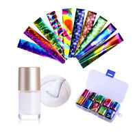 10 Colors Nail Art Transfer Foil Sticker & Glue Set for Nail Tips Decoration Kit