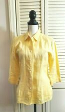 Talbots yellow Irish Linen Button Front Tailored fit  Shirt Size 6