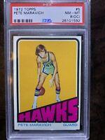 1972 Topps Basketball #5 Pete Maravich PSA 8 (OC)
