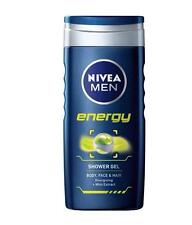 ** 2 X  NIVEA MEN ENERGY SHOWER GEL 250ML NEW ** BODY FACE HAIR MINT EXTRACT
