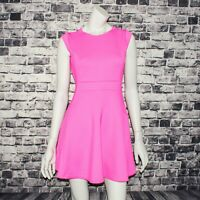BAKER by Ted Baker Women's fit and Flare Dress Solid Pink Size 14 Stretchy