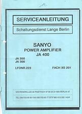 Sanyo  Service Manual für JA 400  JA 300 JA 350