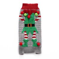 Christmas Elves Xmas Winter Pet Clothes Dog Puppy Cat clown Sweater Jumper Coat