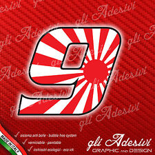 Adesivo Stickers NUMERO 9 moto auto cross gara JAPAN 5 cm