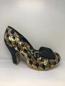 P/250* Irregular Choice Iconic Womens Heels Black Gold Eur 40