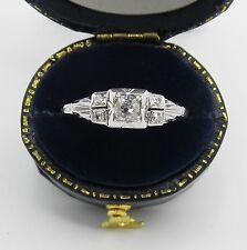 Antique Art Deco Mine Cut Diamond Engagement Ring 18k White Gold Vintage Sz 8